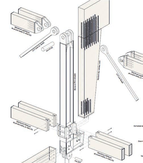 Fig. 15a Axonometric of the assembly of the radial beams